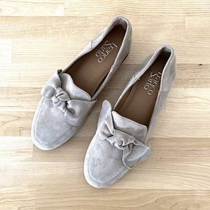 FRANCO SARTO Taupe Suede Bow Loafers Sz 8